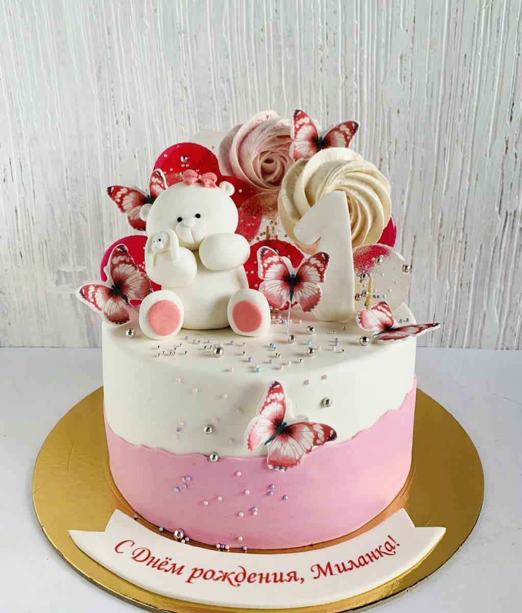 Торт мишка с бабочками заказать Минск, цена, фото