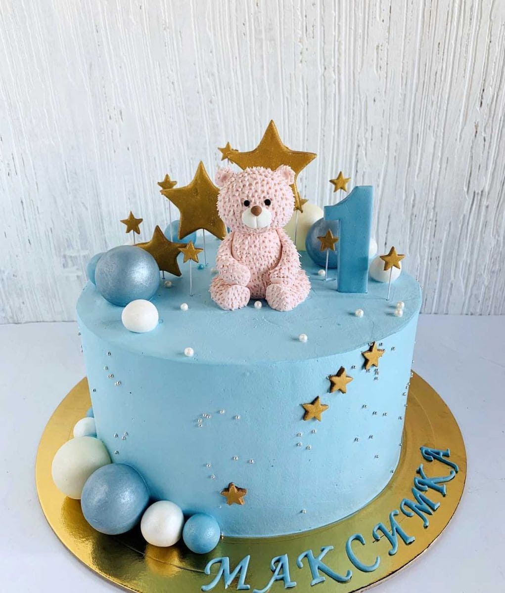 Торт с мишкой и шарами на 1 годик мальчику
